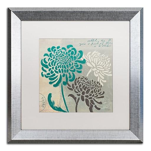 "Trademark Fine Art ''Chrysanthemums I'' by Wellington Studio 16"" x 16"" White Matted Silver Frame (WAP0134-S1616MF)"
