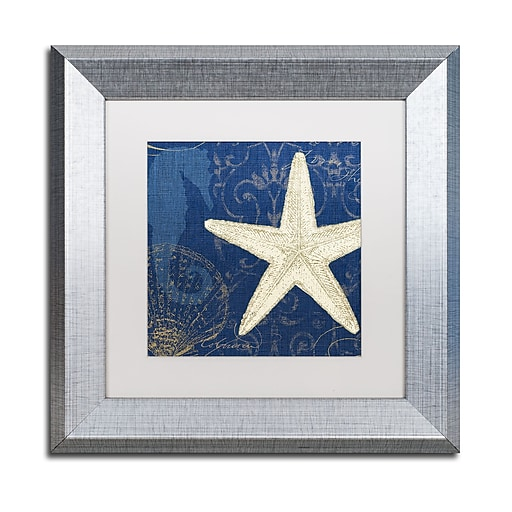 "Trademark Fine Art ''Coastal Moonlight I Teal'' by Pela Studio 11"" x 11"" White Matted Silver Frame (WAP0151-S1111MF)"