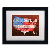 "Trademark Fine Art ''USA Flag Map'' by Design Turnpike 11"" x 14"" White Matted Black Frame (ALI1244-B1114MF)"