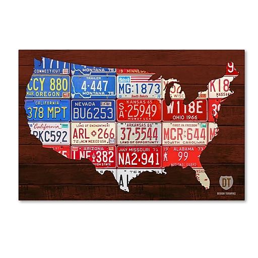 "Trademark Fine Art ''USA Flag Map'' by Design Turnpike 16"" x 24"" Canvas Art (ALI1244-C1624GG)"