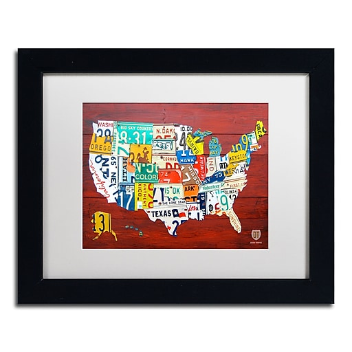 "Trademark Fine Art ''License Plate Map USA'' by Design Turnpike 11"" x 14"" White Matted Black Frame (ALI1245-B1114MF)"