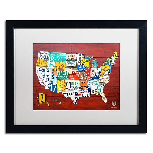"Trademark Fine Art ''License Plate Map USA'' by Design Turnpike 16"" x 20"" White Matted Black Frame (ALI1245-B1620MF)"