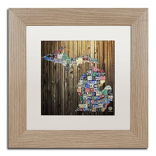 """Trademark Fine Art ''Michigan Counties License Plate'' by Design Turnpike 11"""" x 11"""" White Matted Wood Frame (ALI1246-T1111MF)"""