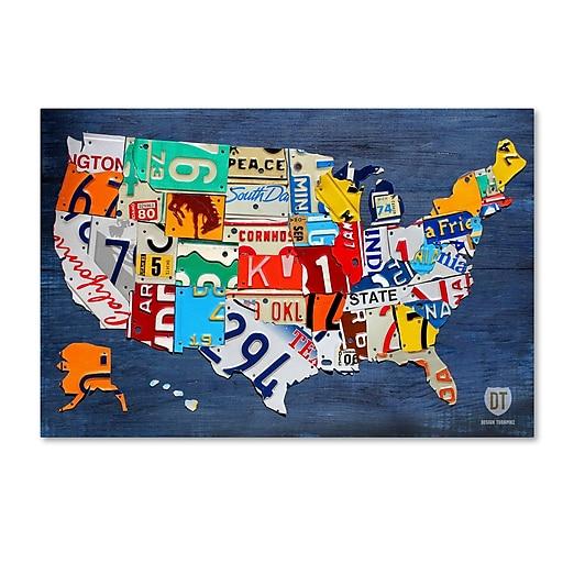 "Trademark Fine Art ''USA Map'' by Design Turnpike 12"" x 19"" Canvas Art (ALI1252-C1219GG)"