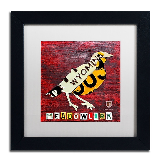 "Trademark Fine Art ''Wyoming Meadowlark'' by Design Turnpike 11"" x 11"" White Matted Black Frame (ALI1254-B1111MF)"