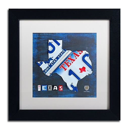 "Trademark Fine Art ''Texas License Plate Map'' by Design Turnpike 11"" x 11"" White Matted Black Frame (ALI1255-B1111MF)"