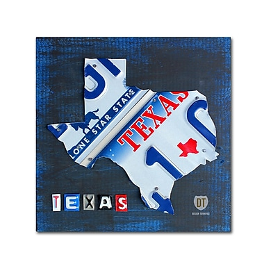 Trademark Fine Art ''Texas License Plate Map'' by Design Turnpike 18