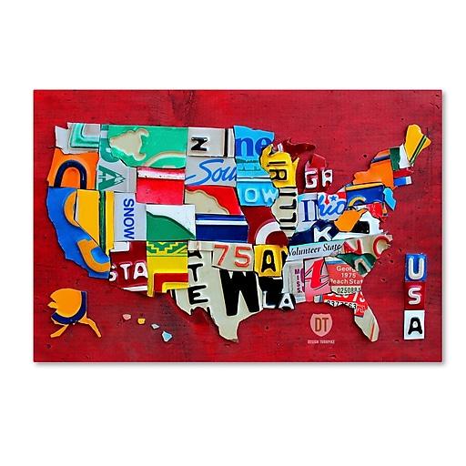 "Trademark Fine Art ''License Plate Map Miniature'' by Design Turnpike 12"" x 19"" Canvas Art (ALI1257-C1219GG)"