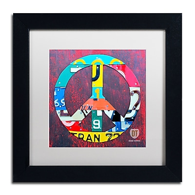 "Trademark Fine Art ''Peace'' by Design Turnpike 11"" x 11"" White Matted Black Frame (ALI1260-B1111MF)"