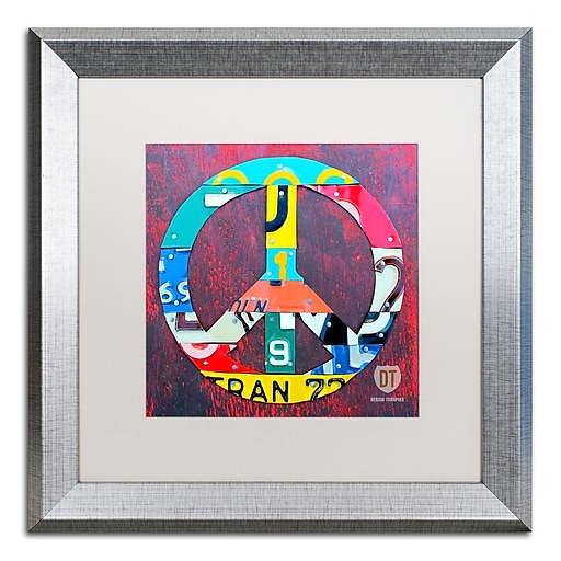 "Trademark Fine Art ''Peace'' by Design Turnpike 16"" x 16"" White Matted Silver Frame (ALI1260-S1616MF)"