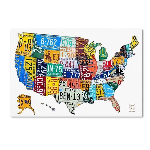 "Trademark Fine Art ''License Plate Map USA 2'' by Design Turnpike 12"" x 19"" Canvas Art (ALI1261-C1219GG)"