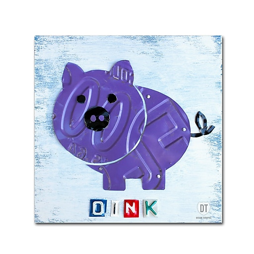 "Trademark Fine Art ''Oink the Pig'' by Design Turnpike 14"" x 14"" Canvas Art (ALI1263-C1414GG)"
