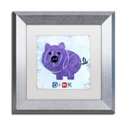 "Trademark Fine Art ''Oink the Pig'' by Design Turnpike 11"" x 11"" White Matted Silver Frame (ALI1263-S1111MF)"