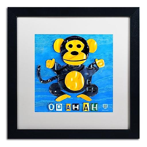 "Trademark Fine Art ''Oo Ah Ah the Monkey'' by Design Turnpike 16"" x 16"" White Matted Black Frame (ALI1264-B1616MF)"