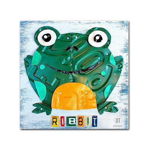 "Trademark Fine Art ''Ribbit the Frog'' by Design Turnpike 14"" x 14"" Canvas Art (ALI1265-C1414GG)"