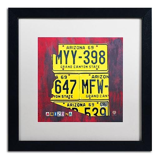"Trademark Fine Art ''Arizona License Plate'' by Design Turnpike 16"" x 16"" White Matted Black Frame (ALI1266-B1616MF)"