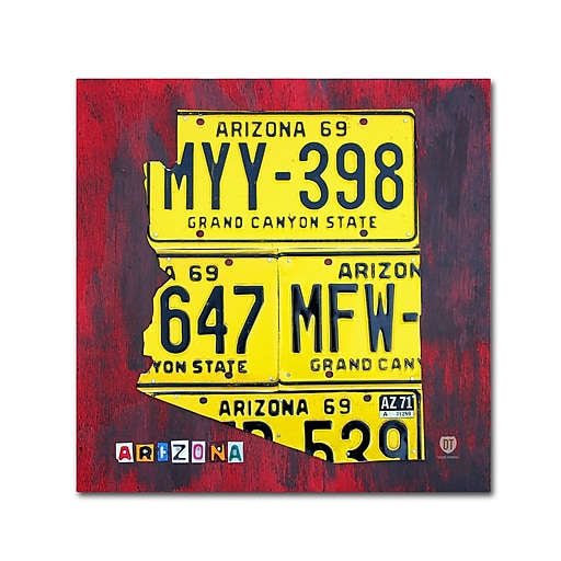 "Trademark Fine Art ''Arizona License Plate'' by Design Turnpike 24"" x 24"" Canvas Art (ALI1266-C2424GG)"