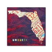 "Trademark Fine Art ''Florida License Plate'' by Design Turnpike 18"" x 18"" Canvas Art (ALI1267-C1818GG)"