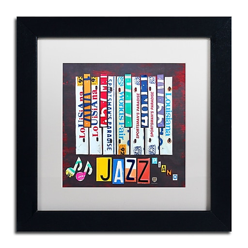 "Trademark Fine Art ''Jazz Series Piano'' by Design Turnpike 11"" x 11"" White Matted Black Frame (ALI1268-B1111MF)"