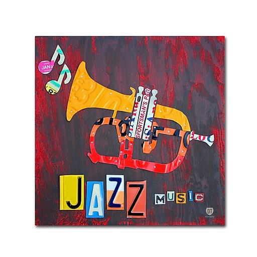 """Trademark Fine Art ''Jazz Series Trumpet'' by Design Turnpike 18"""" x 18"""" Canvas Art (ALI1269-C1818GG)"""
