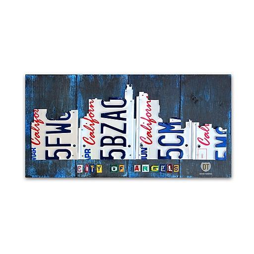 "Trademark Fine Art ''Los Angeles Skyline License Plate'' by Design Turnpike 12"" x 24"" Canvas Art (ALI1270-C1224GG)"