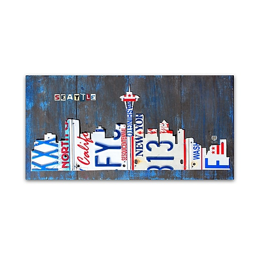 "Trademark Fine Art ''Seattle Skyline License Plate'' by Design Turnpike 16"" x 32"" Canvas Art (ALI1271-C1632GG)"