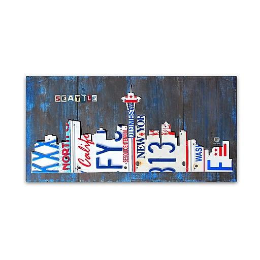"Trademark Fine Art ''Seattle Skyline License Plate'' by Design Turnpike 24"" x 47"" Canvas Art (ALI1271-C2447GG)"