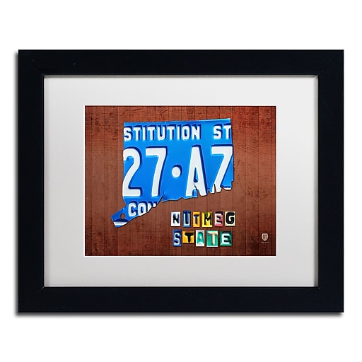 "Trademark Fine Art ''Connecticut License Plate'' by Design Turnpike 11"" x 14"" White Matted Black Frame (ALI1272-B1114MF)"