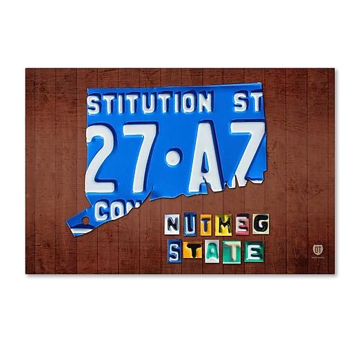 "Trademark Fine Art ''Connecticut License Plate'' by Design Turnpike 30"" x 47"" Canvas Art (ALI1272-C3047GG)"