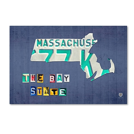 "Trademark Fine Art ''Massachusetts License Plate'' by Design Turnpike 30"" x 47"" Canvas Art (ALI1273-C3047GG)"