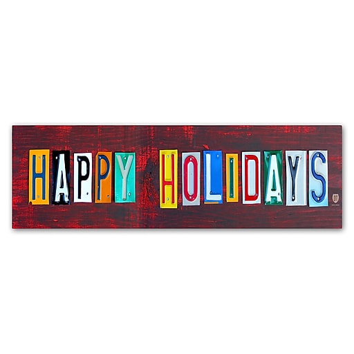 "Trademark Fine Art ''Happy Holidays'' by Design Turnpike 8"" x 24"" Canvas Art (ALI1278-C824GG)"