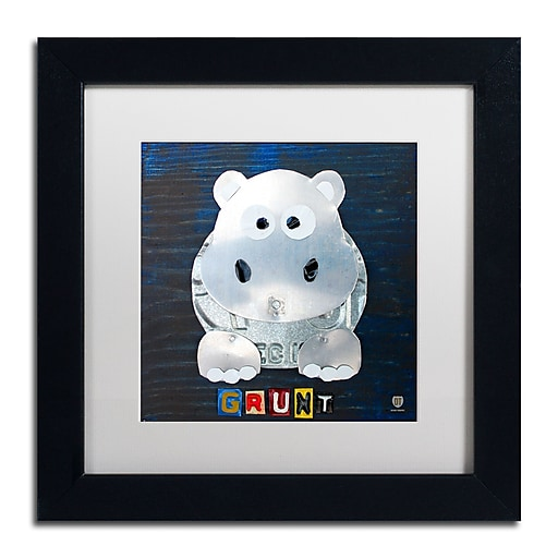 "Trademark Fine Art ''Grunt The Hippo'' by Design Turnpike 11"" x 11"" White Matted Black Frame (ALI1279-B1111MF)"