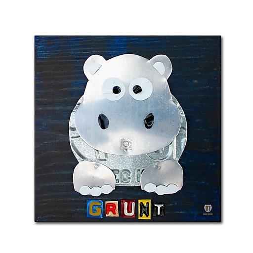 "Trademark Fine Art ''Grunt The Hippo'' by Design Turnpike 14"" x 14"" Canvas Art (ALI1279-C1414GG)"