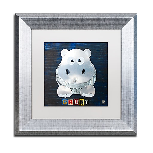 """Trademark Fine Art ''Grunt The Hippo'' by Design Turnpike 11"""" x 11"""" White Matted Silver Frame (ALI1279-S1111MF)"""