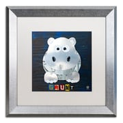 """Trademark Fine Art ''Grunt The Hippo'' by Design Turnpike 16"""" x 16"""" White Matted Silver Frame (ALI1279-S1616MF)"""