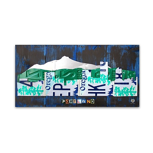 "Trademark Fine Art ''Portland Skyline License Plate'' by Design Turnpike 12"" x 24"" Canvas Art (ALI1282-C1224GG)"