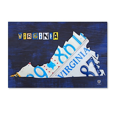 Trademark Fine Art ''Virginia License Plate Map'' by Design Turnpike 16