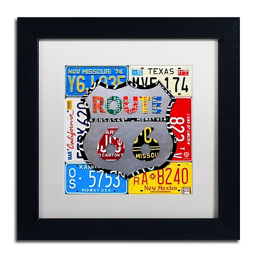 "Trademark Fine Art ''Route 66 Road Sign'' by Design Turnpike 11"" x 11"" White Matted Black Frame (ALI1285-B1111MF)"