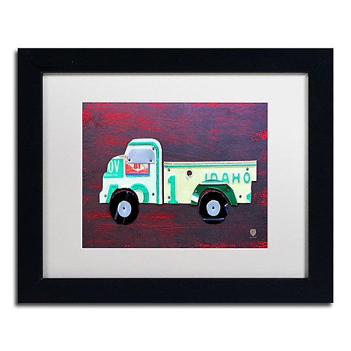 "Trademark Fine Art ''Pickup Truck'' by Design Turnpike 11"" x 14"" White Matted Black Frame (ALI1286-B1114MF)"