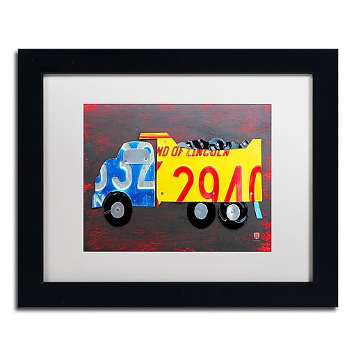 """Trademark Fine Art ''Dump Truck'' by Design Turnpike 11"""" x 14"""" White Matted Black Frame (ALI1288-B1114MF)"""