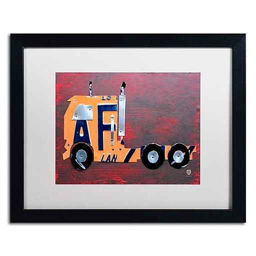 "Trademark Fine Art ''Semi Truck'' by Design Turnpike 16"" x 20"" White Matted Black Frame (ALI1289-B1620MF)"