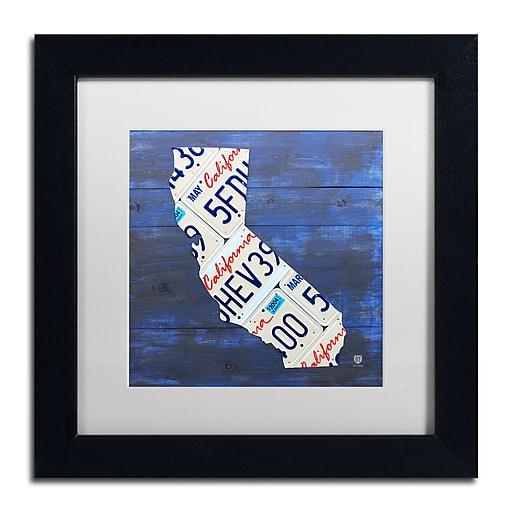"Trademark Fine Art ''California License Plate'' by Design Turnpike 11"" x 11"" White Matted Black Frame (ALI1290-B1111MF)"
