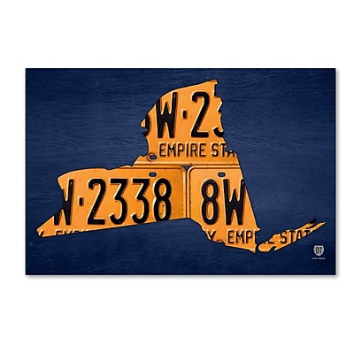 Trademark Fine Art ''New York License Plate Map'' by Design Turnpike 12