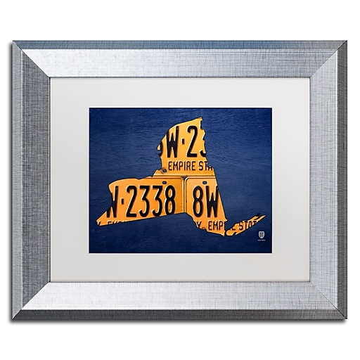 """Trademark Fine Art ''New York License Plate Map'' by Design Turnpike 11"""" x 14"""" White Matted Silver Frame (ALI1291-S1114MF)"""