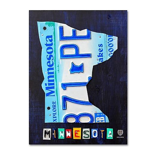 "Trademark Fine Art ''Minnesota License Plate Map'' by Design Turnpike 35"" x 47"" Canvas Art (ALI1294-C3547GG)"