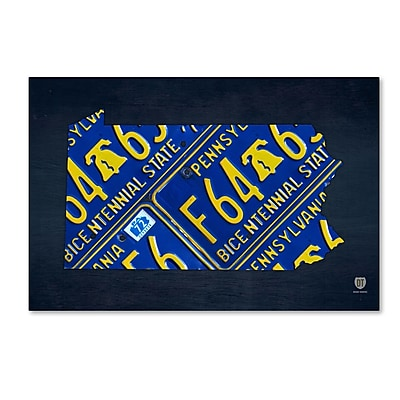 Trademark Fine Art ''Pennsylvania License Plate Map'' by Design Turnpike 12