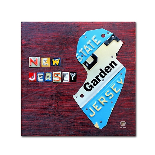 "Trademark Fine Art ''New Jersey License Plate Map'' by Design Turnpike 18"" x 18"" Canvas Art (ALI1298-C1818GG)"