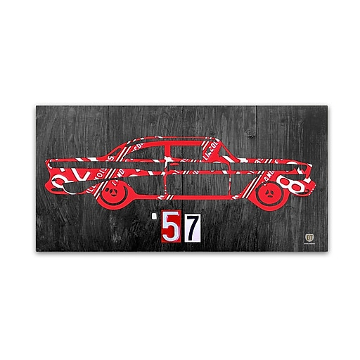 "Trademark Fine Art ''57 Chevy License Plate Art'' by Design Turnpike 24"" x 47"" Canvas Art (ALI1299-C2447GG)"