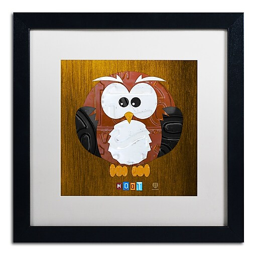 "Trademark Fine Art ''Hoot The Owl'' by Design Turnpike 16"" x 16"" White Matted Black Frame (ALI1302-B1616MF)"