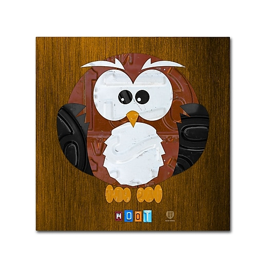 "Trademark Fine Art ''Hoot The Owl'' by Design Turnpike 35"" x 35"" Canvas Art (ALI1302-C3535GG)"